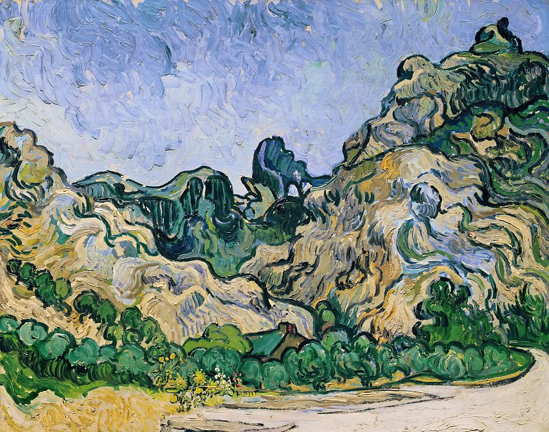 Mountains at Saint-Remy with Cottage. Vincent van Gogh