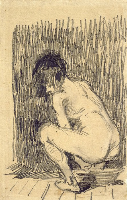 Nude Woman Squatting over a Basin. Vincent van Gogh