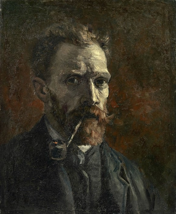 Self-Portrait with Pipe. Vincent van Gogh