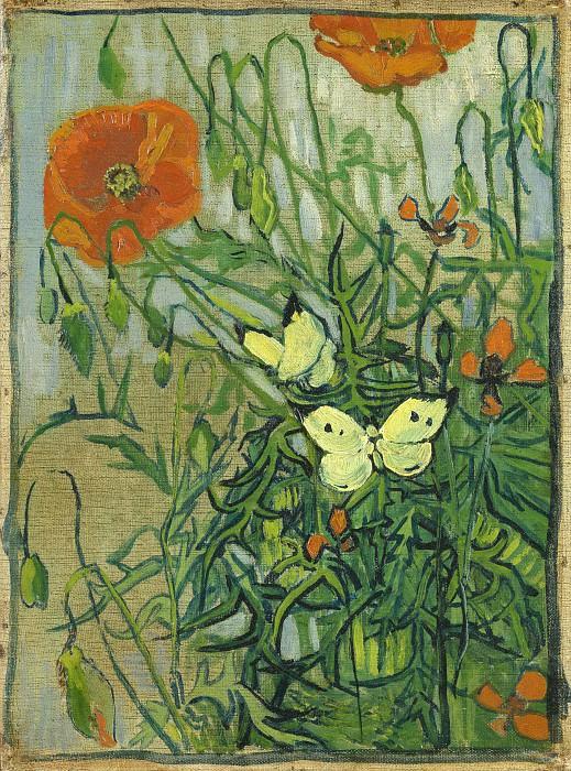 Poppies and Butterflies. Vincent van Gogh