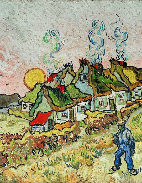 Thatched Cottages in the Sunshine. Vincent van Gogh