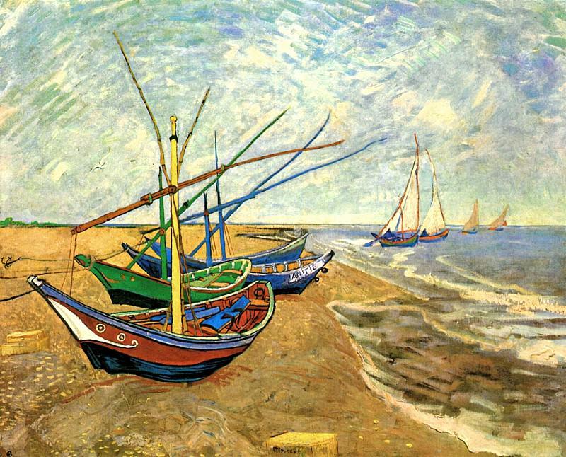 Fishing Boats on the Beach at Saintes-Maries. Vincent van Gogh