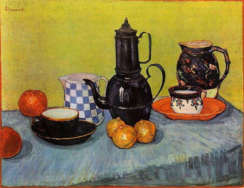 Still Life - Blue Enamel Coffeepot, Earthenware and Fruit. Vincent van Gogh