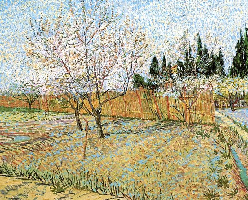 Сад с цветущими персиками. Винсент Ван Гог