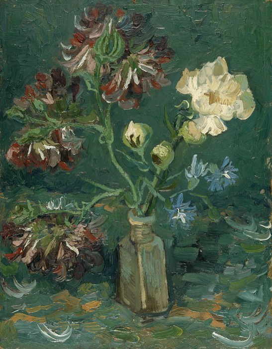 Vase with Myosotis and Peonies. Vincent van Gogh