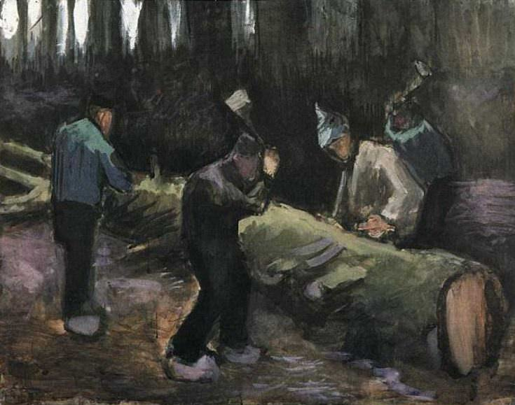 Four Men Cutting Wood. Vincent van Gogh