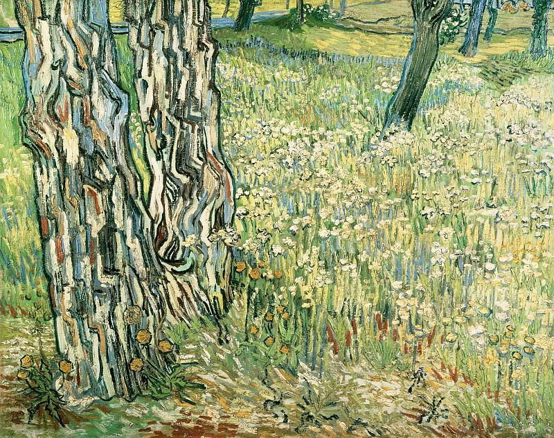 Pine Trees and Dandelions in the Garden of Saint-Paul Hospital. Vincent van Gogh