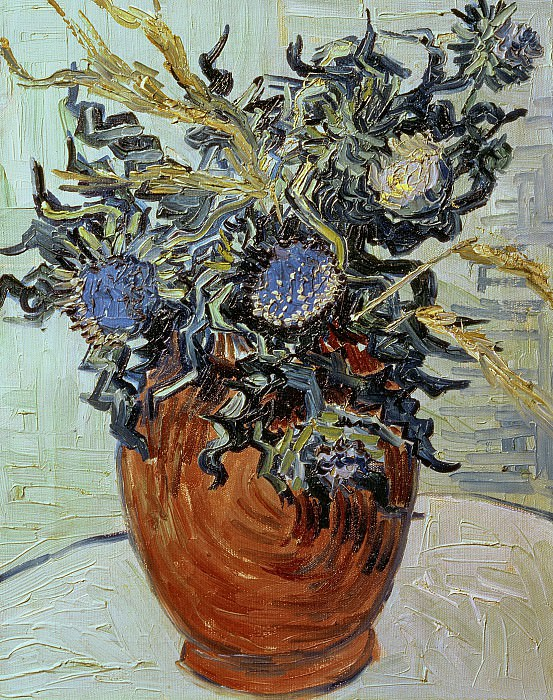 Vase with Flower and Thistles. Vincent van Gogh