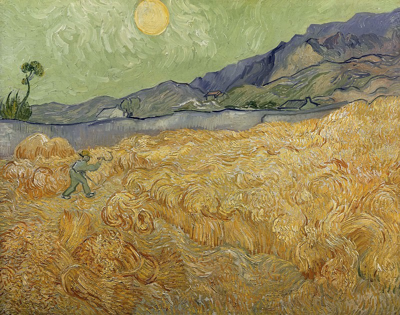 Wheat Fields with Reaper at Sunrise. Vincent van Gogh