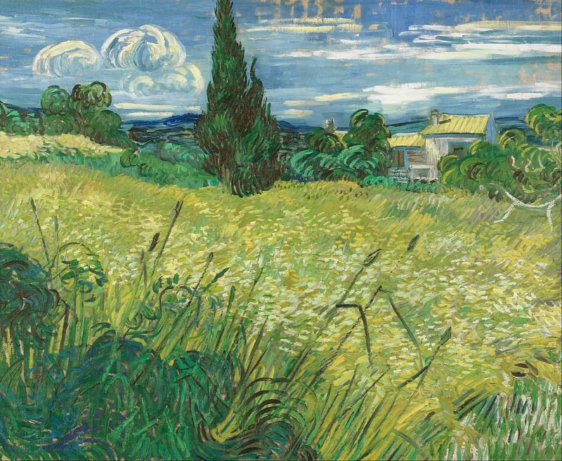 Green Wheat Field with Cypress. Vincent van Gogh
