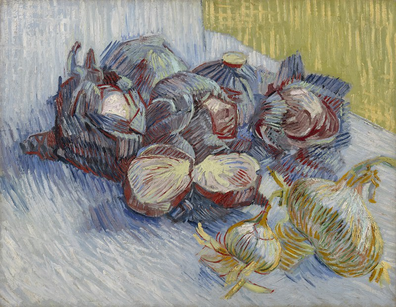 Still Life with Red Cabbages and Onions. Vincent van Gogh