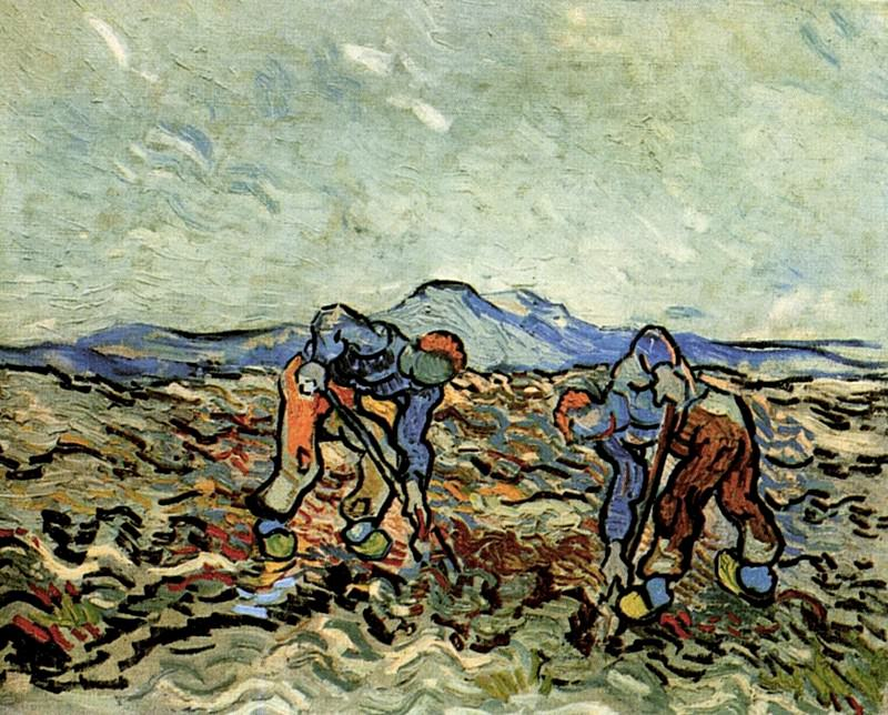 Peasants Lifting Potatoes. Vincent van Gogh