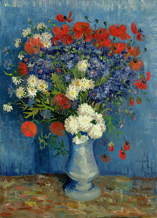 Vase with Cornflowers and Poppies. Vincent van Gogh