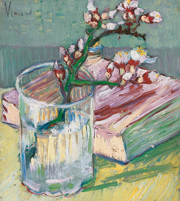 Blossoming Almond Branch in a Glass with a Book. Vincent van Gogh