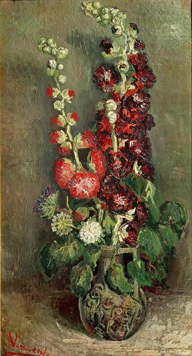 Vase with Hollyhocks. Vincent van Gogh