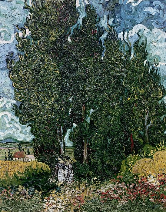 Cypresses with Two Female Figures. Vincent van Gogh