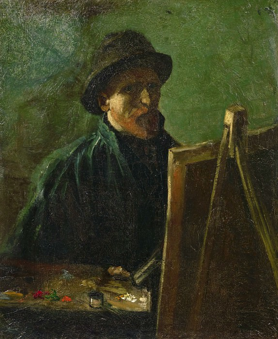Self-Portrait with Felt Hat at the Easel. Vincent van Gogh