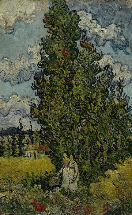 Cypresses and Two Women. Vincent van Gogh