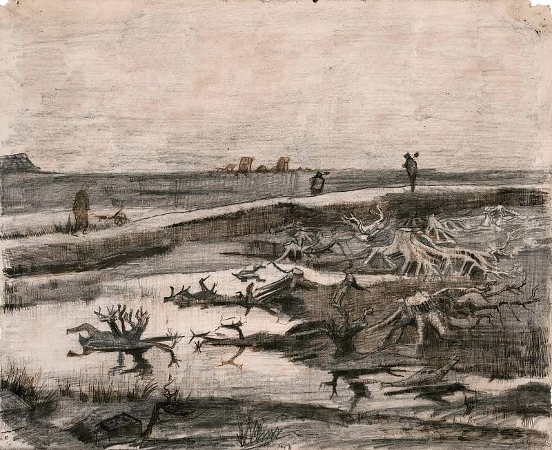 Landscape with Bog-Oak Trunks. Vincent van Gogh