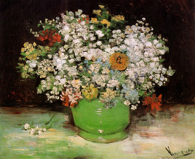 Vase with Zinnias and Other Flowers. Vincent van Gogh