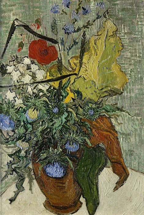 Wild Flowers and Thistles in a Vase. Vincent van Gogh