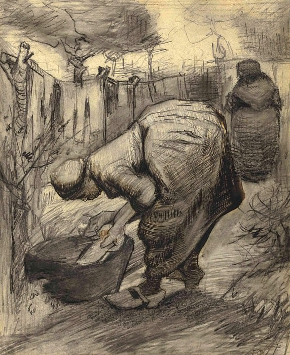 Woman by the Wash Tub in the Garden. Vincent van Gogh