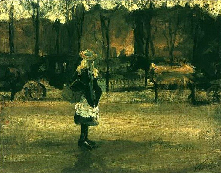 A Girl in the Street, Two Coaches in the Background. Vincent van Gogh
