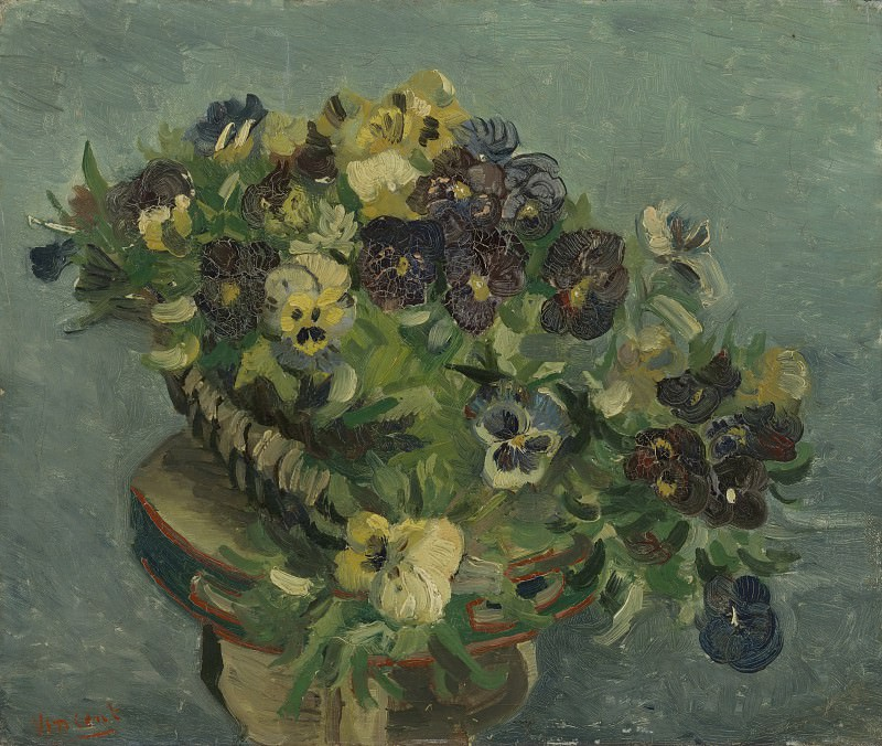 Tambourine with Pansies. Vincent van Gogh
