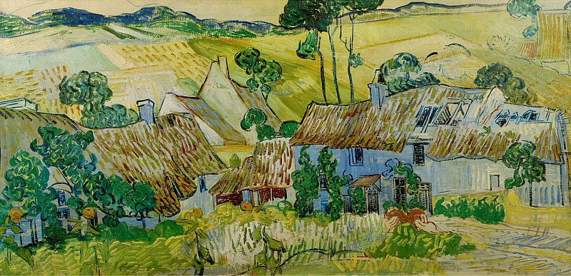 Thatched Cottages by a Hill. Vincent van Gogh