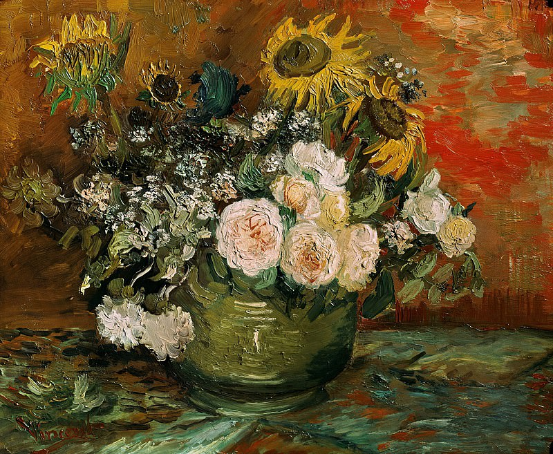 Still Life with Roses and Sunflowers. Vincent van Gogh