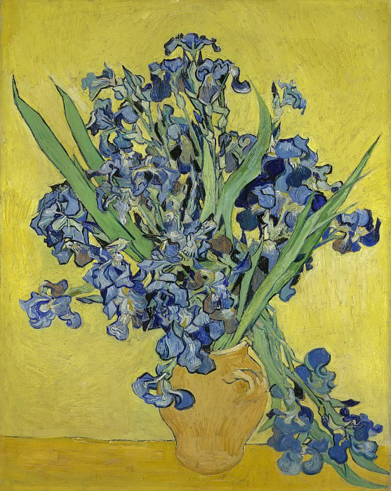 Vase with Irises Against a Yellow Background. Vincent van Gogh