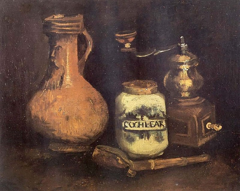 Still Life with Coffee Mill, Pipe and Jug. Vincent van Gogh