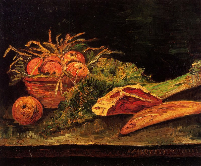 Still Life with Apples, Meat and a Roll. Vincent van Gogh