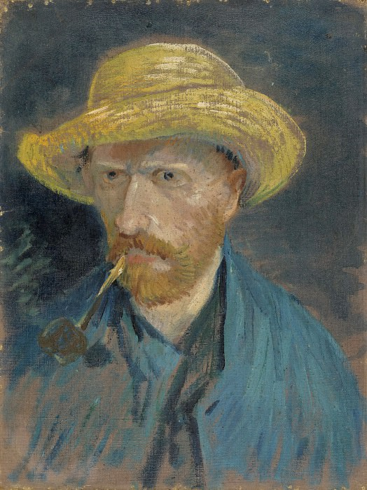 Self-Portrait with Straw Hat and Pipe. Vincent van Gogh