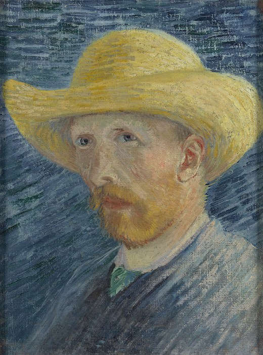 Self-Portrait with Straw Hat. Vincent van Gogh
