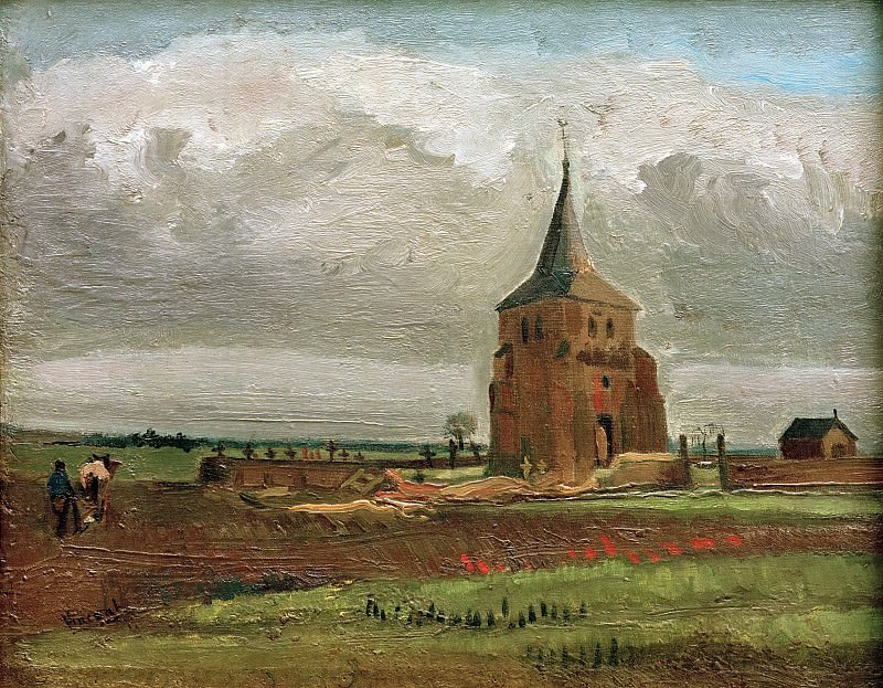 Old Tower at Nuenen with a Ploughman. Vincent van Gogh