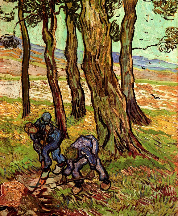 Two Diggers Among Trees. Vincent van Gogh