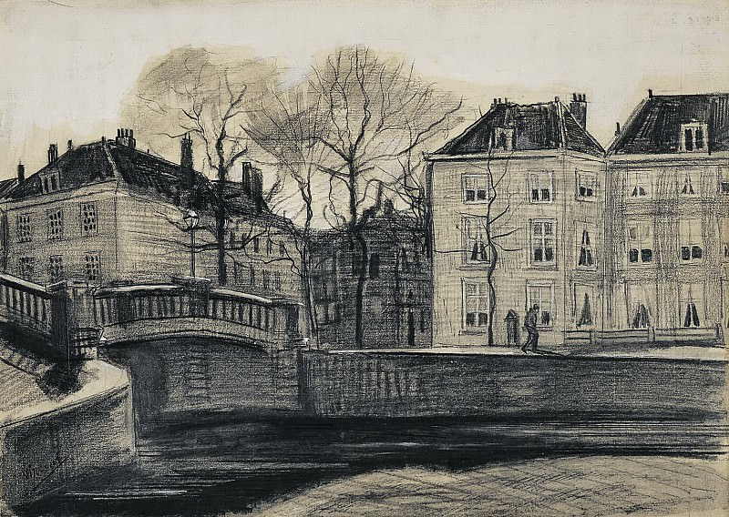 Bridge and Houses on the Corner of Herengracht - Prinsessegracht, The Hague. Vincent van Gogh