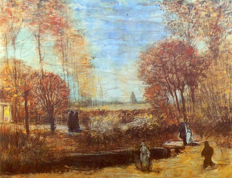 The Parsonage Garden at Nuenen with Pond and Figures. Vincent van Gogh