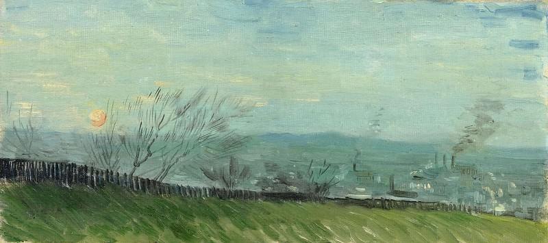 Factories Seen from a Hillside in Moonlight. Vincent van Gogh