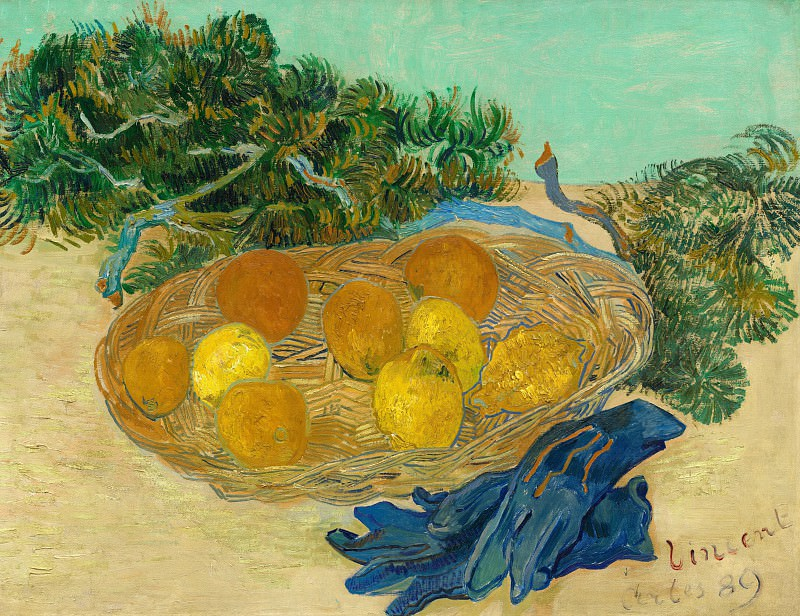 Still Life with Oranges and Lemons with Blue Gloves. Vincent van Gogh