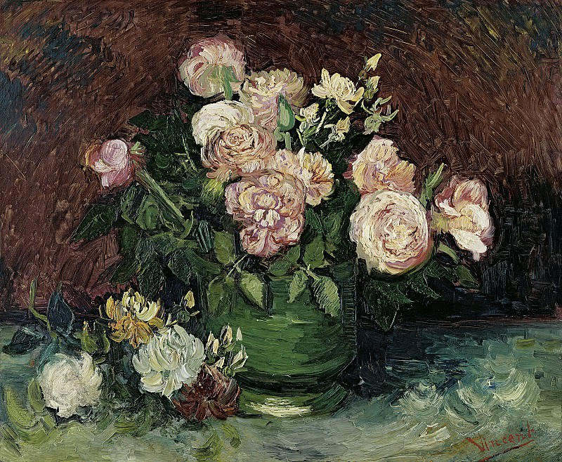 Bowl with Peonies and Roses. Vincent van Gogh