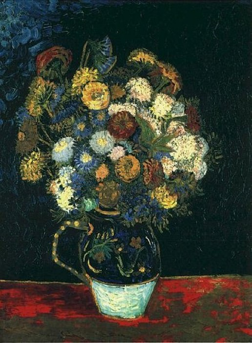 Vase with Zinnias. Vincent van Gogh
