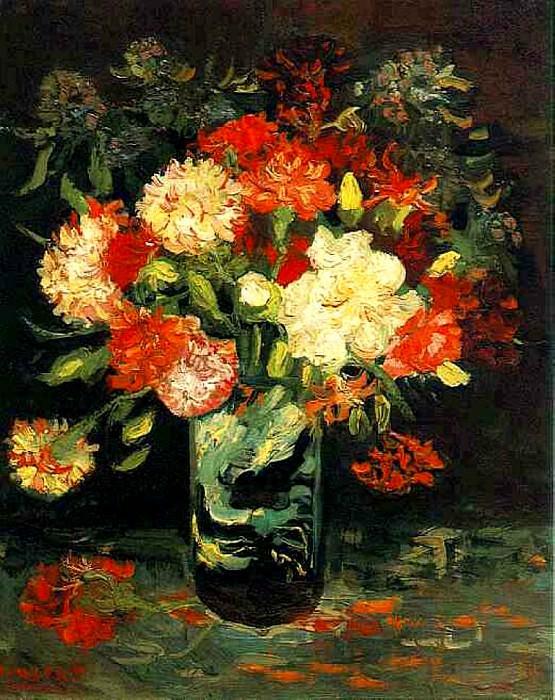 Vase with Carnations. Vincent van Gogh