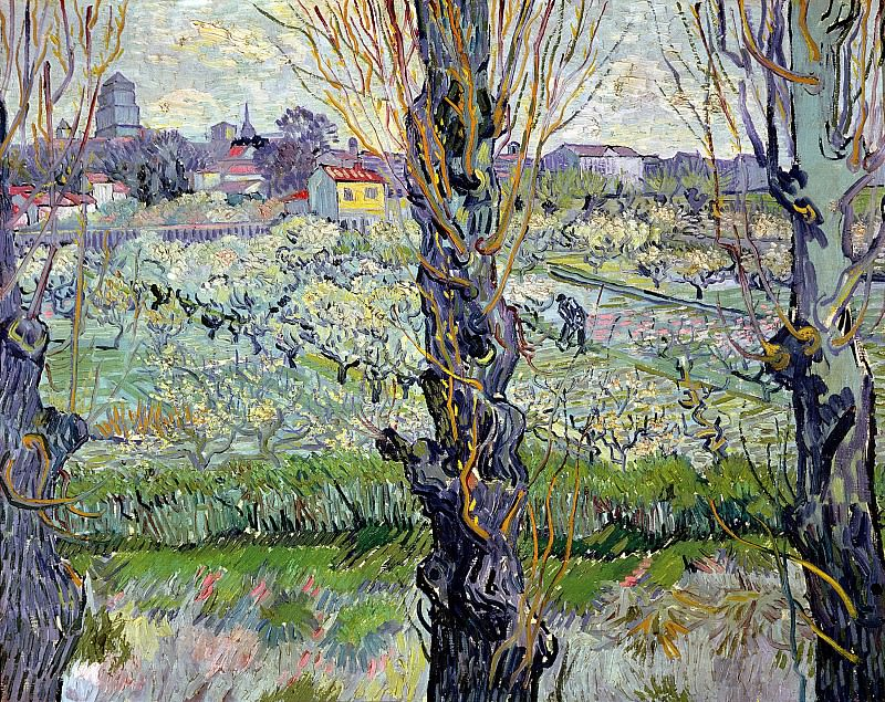 Orchard in Blossom with View of Arles. Vincent van Gogh