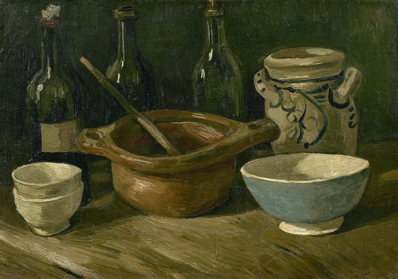 Still-Life with Earthenware and Bottles. Vincent van Gogh