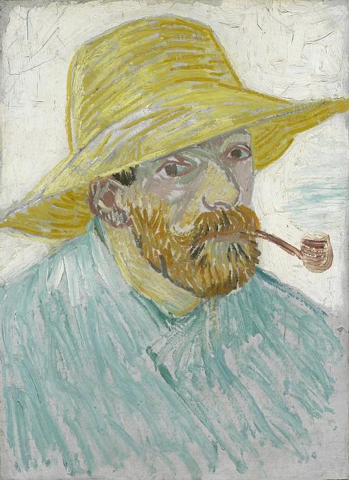 Автопортрет в соломенной шляпе с трубкой. Винсент Ван Гог