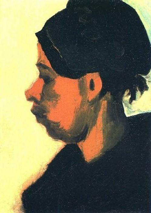 Head of a Peasant Woman with Black Cap. Vincent van Gogh