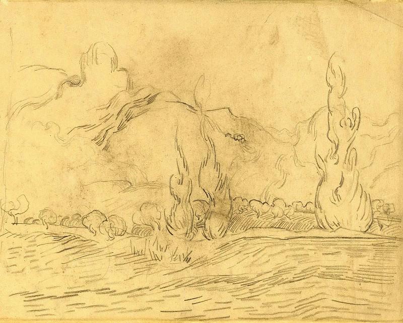 Landscape with Cypresses. Vincent van Gogh