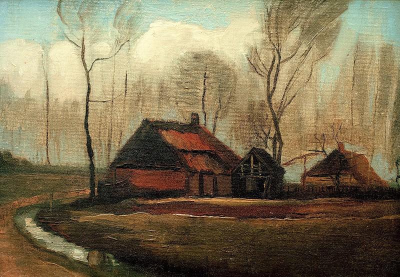Farmhouses Among Trees. Vincent van Gogh
